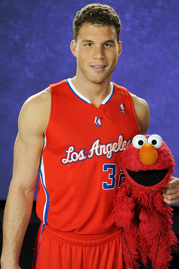 Blake Griffin poses with Elmo during a guest appearance on Sesame Street.