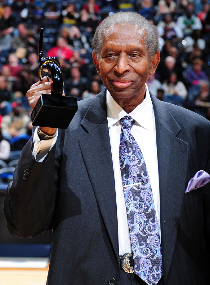 Earl Lloyd is honored to celebrate black history month during a Hawks-Heat game in Feb. 2012 at Philips Arena in Atlanta.