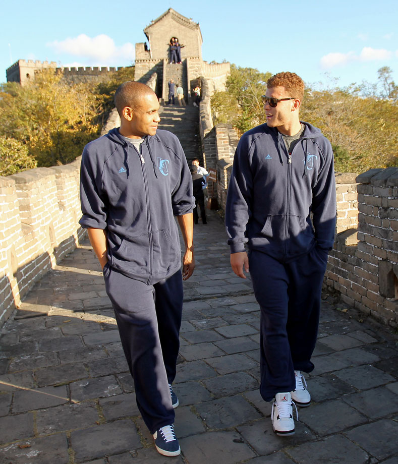 Grant Hill and Blake Griffin stroll through the Great Wall of China. Hard not to look like tourists when you're 6-8 and 6-10.