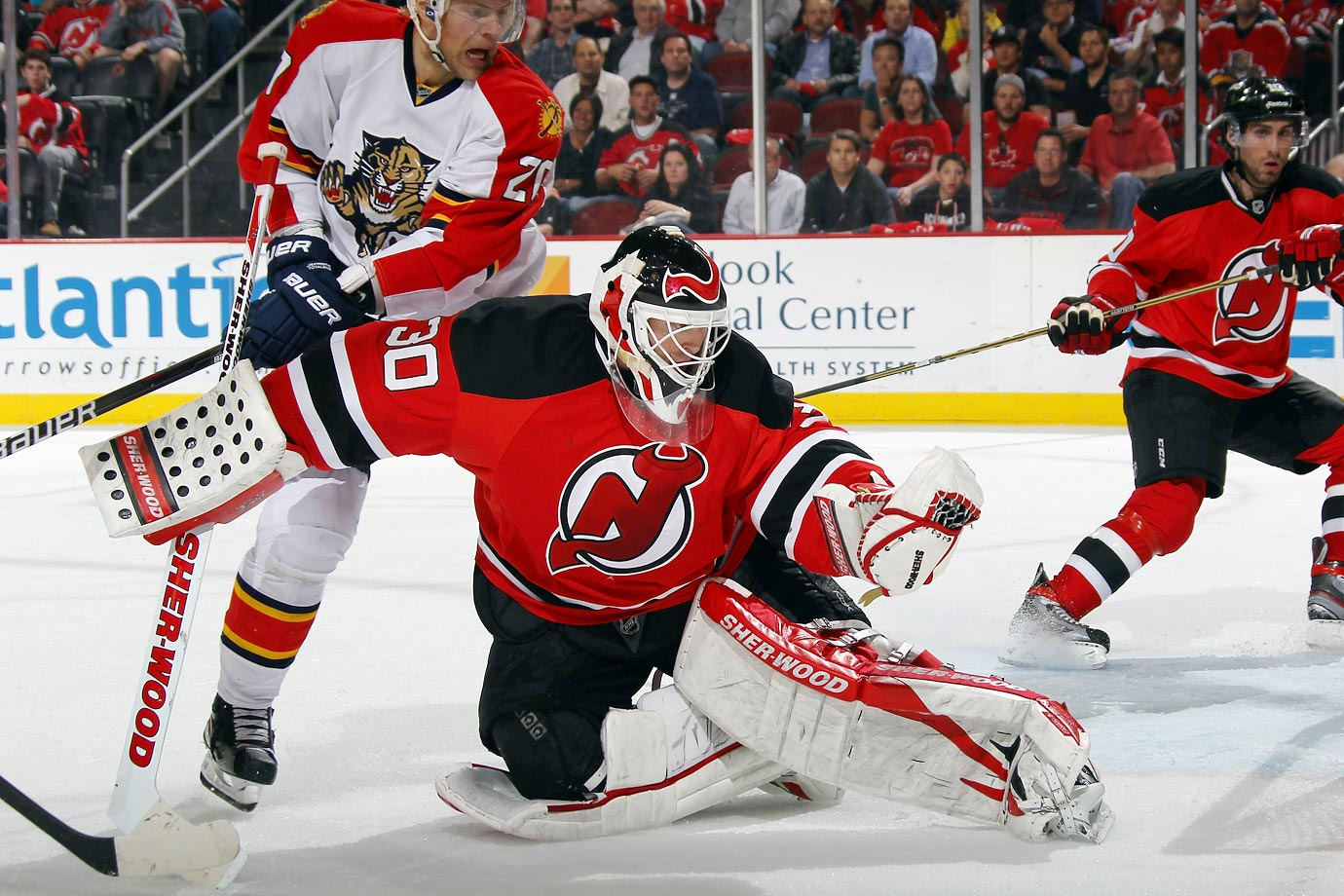 Coming off his 14th and final 30-win regular season, Brodeur blanked the Florida Panthers, 4-0, in Game 4 the 2012 Eastern Conference quarterfinals on April 19 to break Patrick Roy's career postseason shutout mark (23) and become only the second goaltender to reach 100 playoff wins.