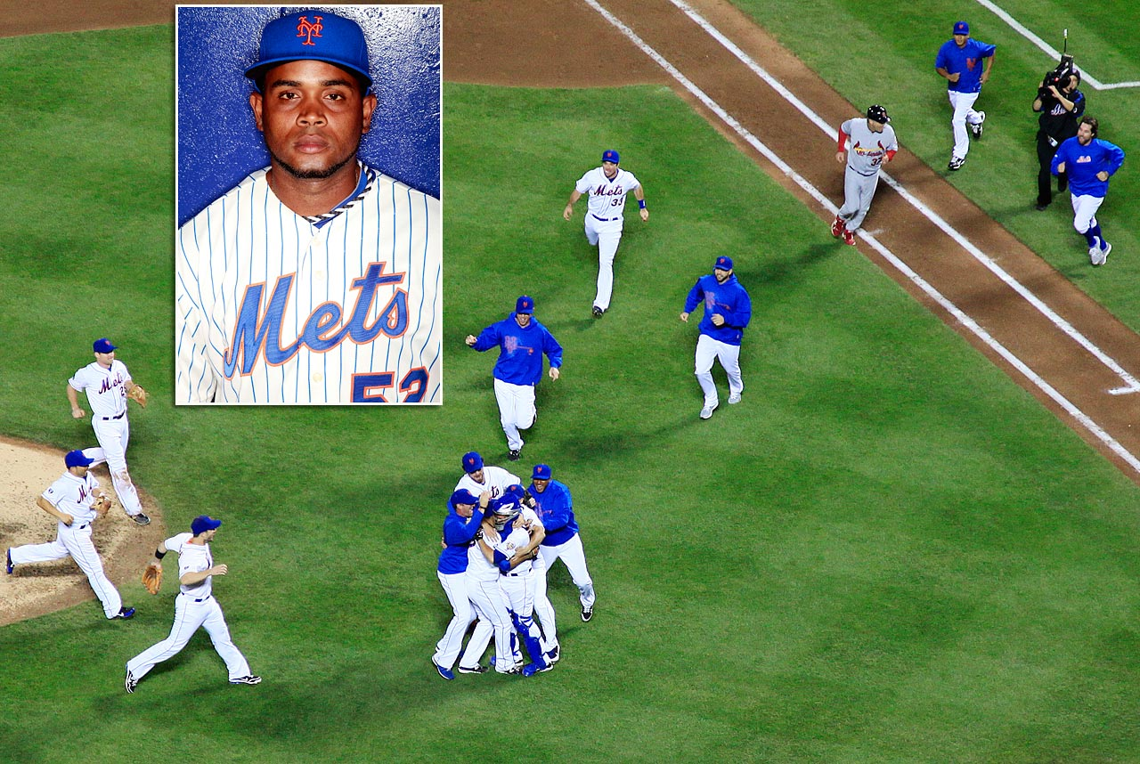 The Mets' relief pitcher (inset) went on the DL after injuring his hamstring while celebrating teammate Johan Santana's no-hitter on June 1, 2012.