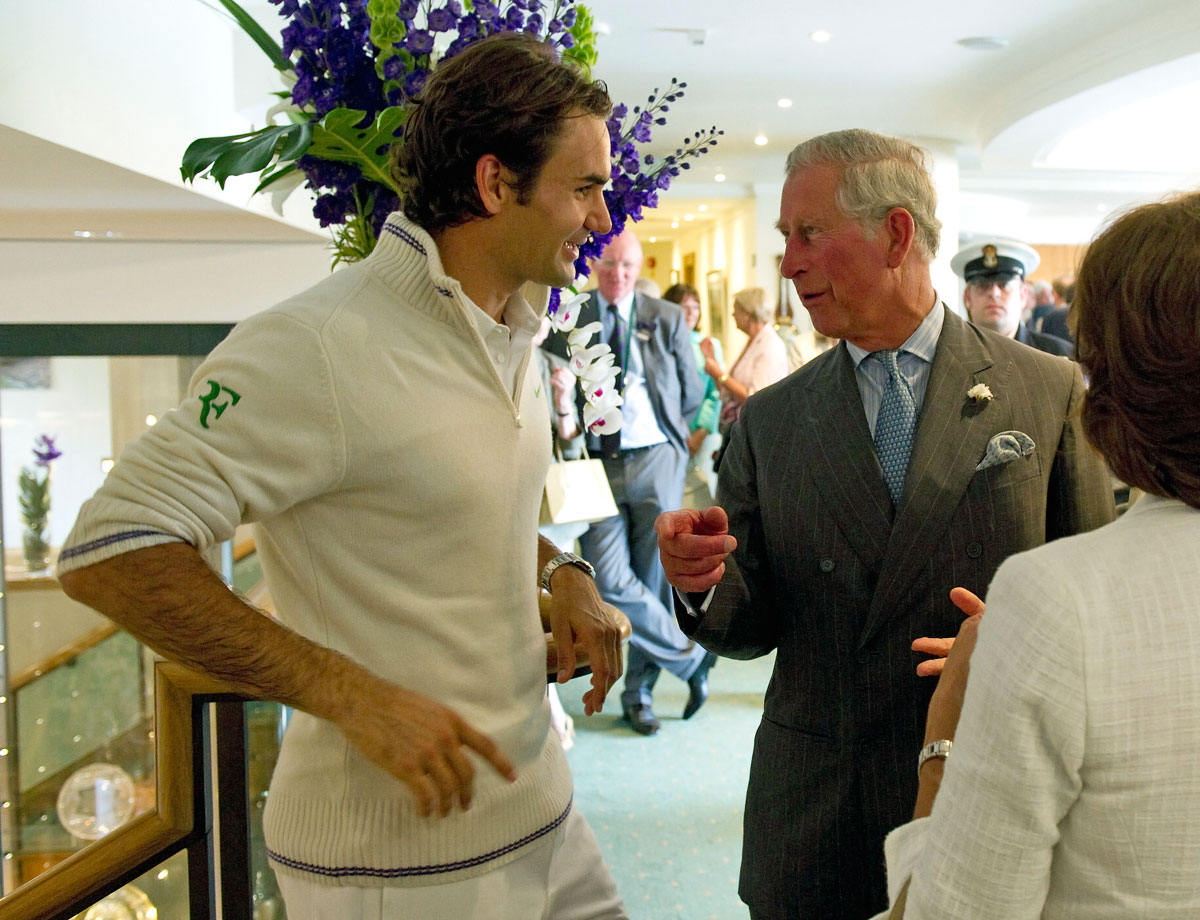 Roger Federer meets with Prince Charles on day three of Wimbledon in London on June 27, 2012.