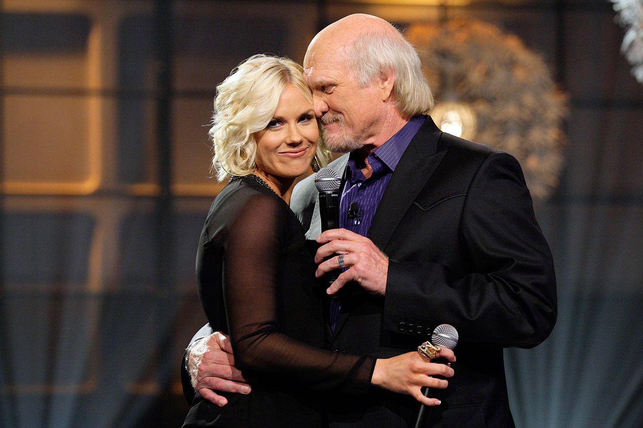 "Musical guest Rachel Bradshaw hugs her dad, Terry Bradshaw, during their performance together on ""The Tonight Show with Jay Leno"" in 2012."