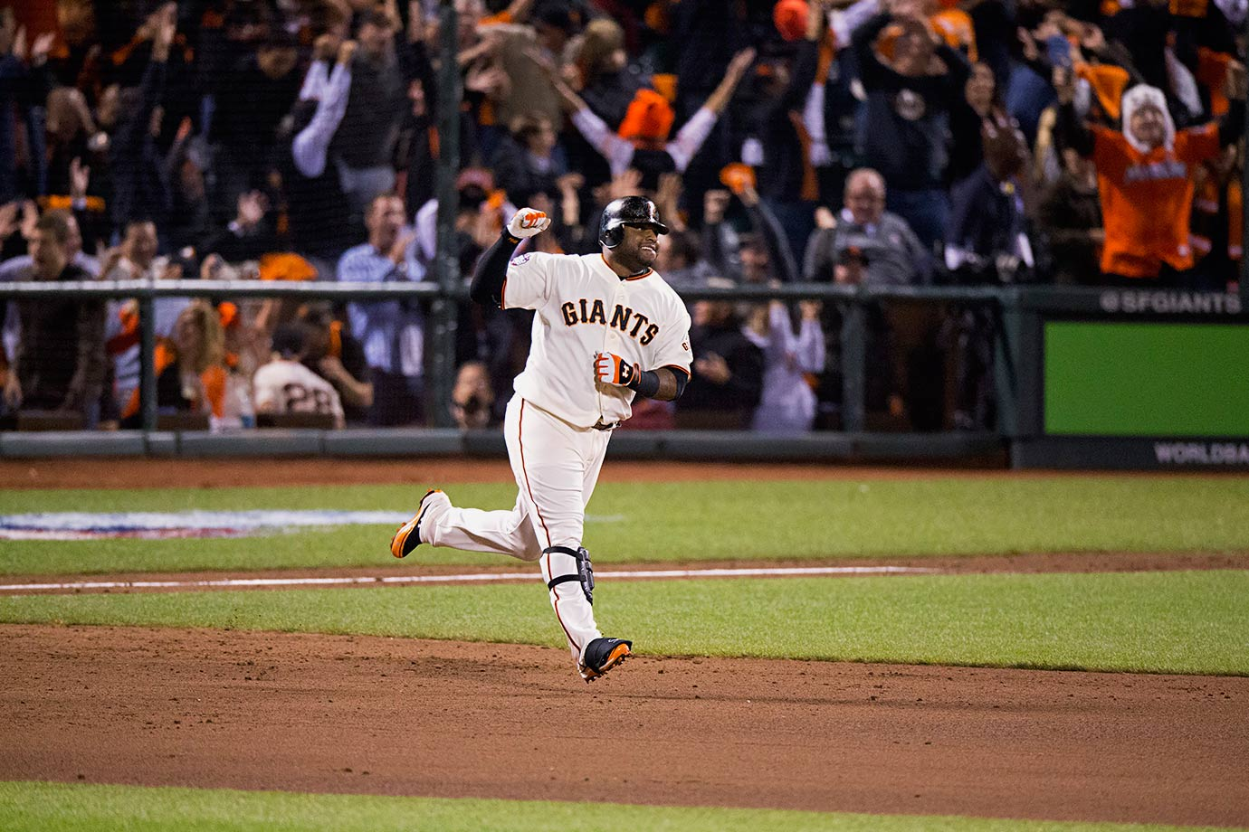 Pablo Sandoval penned a chapter in baseball history when he became the first player to hit a home run in his first three plate appearances of a World Series game. The Giants slugger also joined Albert Pujols, Reggie Jackson and Babe Ruth as only the fourth player in history to go yard three times in a single World Series game.
