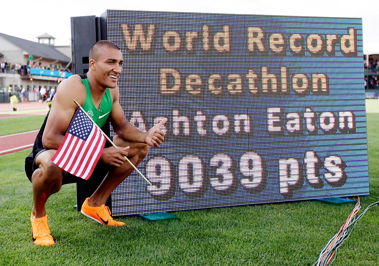 Ashton Eaton after the 1,500-meter decathlon at the 2012 U.S. Olympic Track and Field Trials. Eaton finished the decathlon with a new world record.