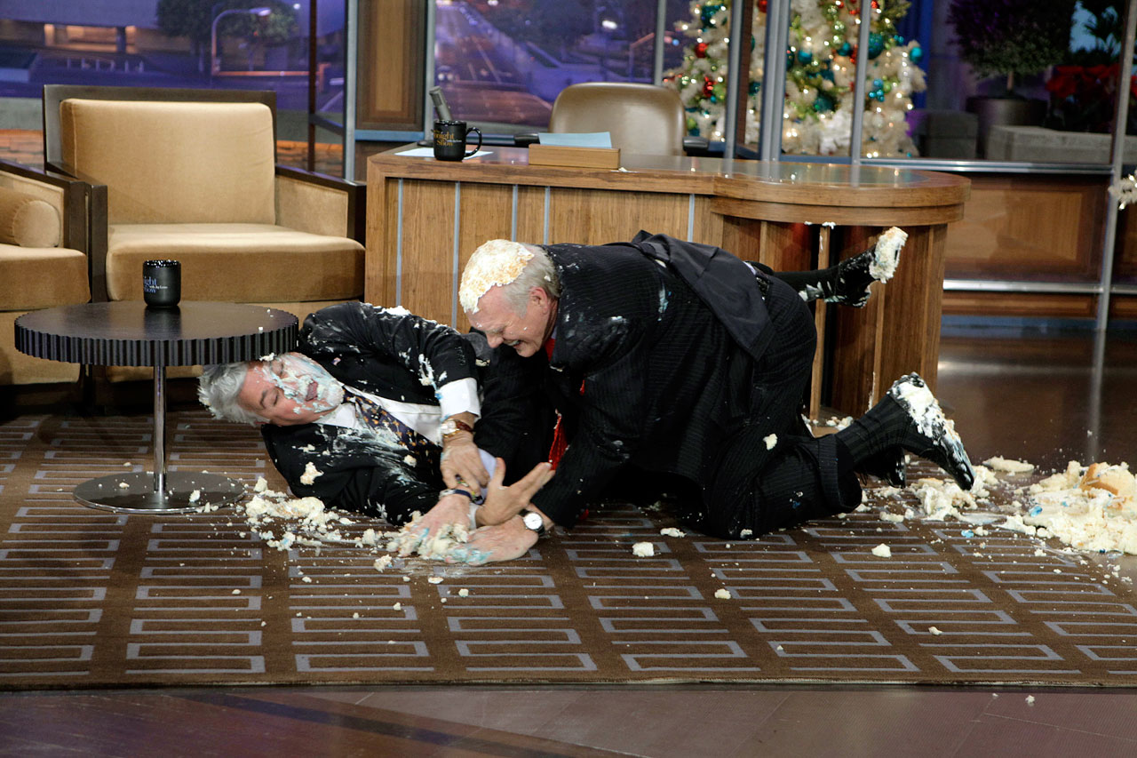 "Terry Bradshaw had a cake fight with Jay Leno to celebrate the former Steeler's 50th appearance on ""The Tonight Show."" Without an offensive line to protect him, Bradshaw was sacked by Leno on national television."
