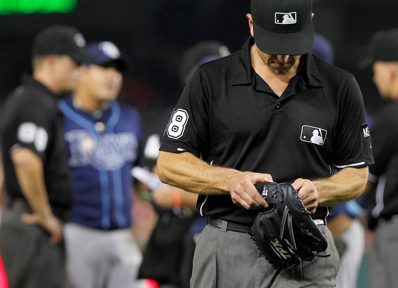 Nationals manager Davey Johnson complained about the glove of Rays reliever Joel Peralta, and insisted umpires check out the situation. They found pine tar and Peralta was ejected, which led to a heated exchange between Johnson and Rays manager Joe Maddon. Peralta had previously pitched for the Nats, and Maddon took exception to Johnson abusing his inside knowledge of the pitcher's methods.
