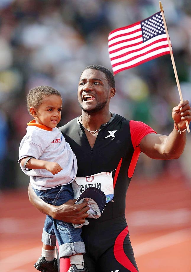 A victorious Justin Gatlin after the 100-meter final at the 2012 Olympic trials.