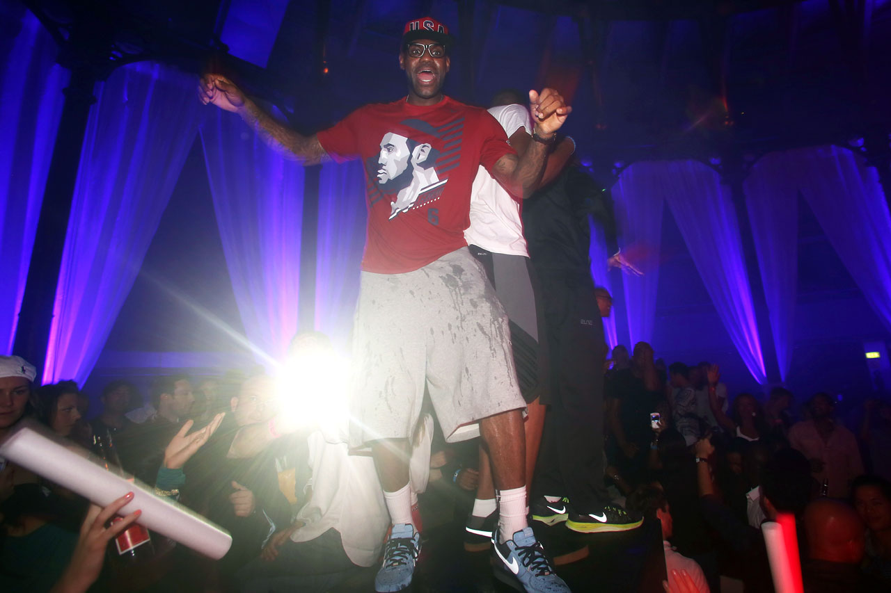 LeBron enjoys some time at a club in London.