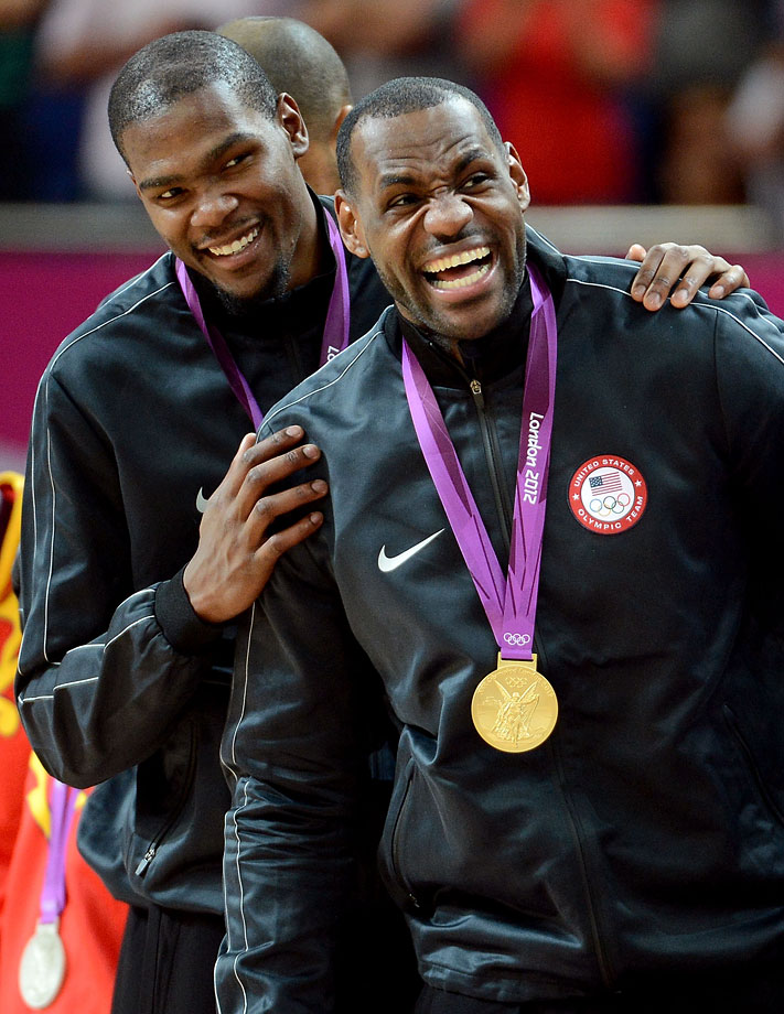Two months after battling in the NBA Finals, James and Kevin Durant teamed up to win an Olympic gold medal in 2012.