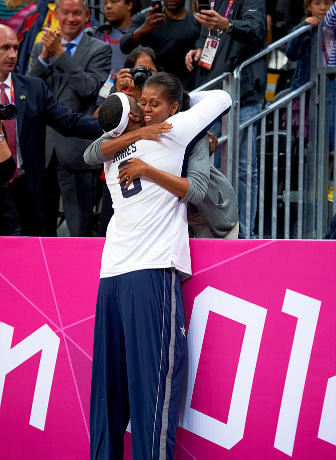 LeBron greets First Lady Michelle Obama at the 2012 London Olympics.