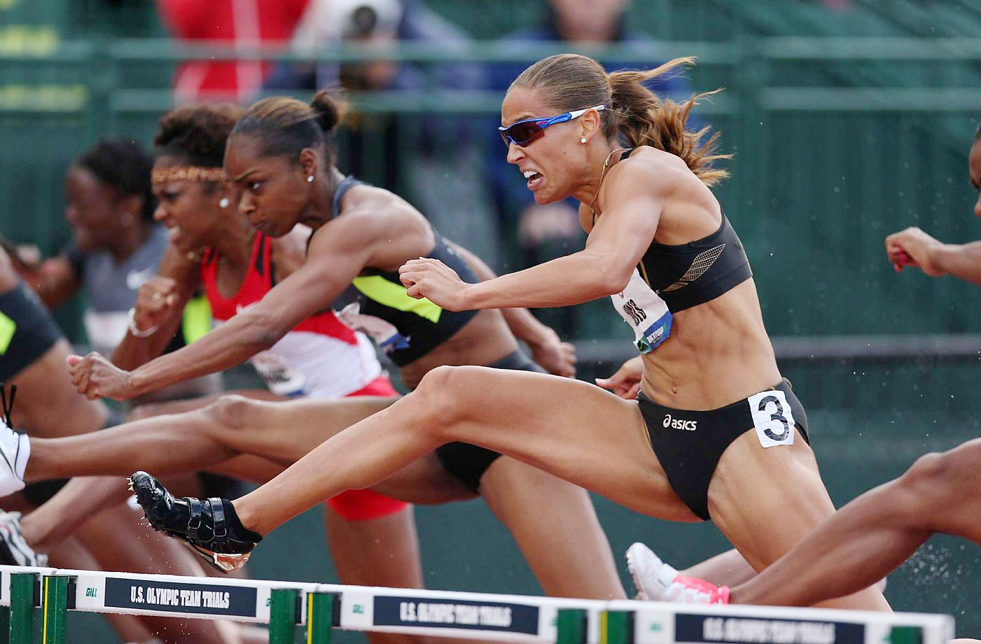 Michelle Perry and Lolo Jones battle in the 100-meter hurdles semifinals at the 2012 Olympic trials.