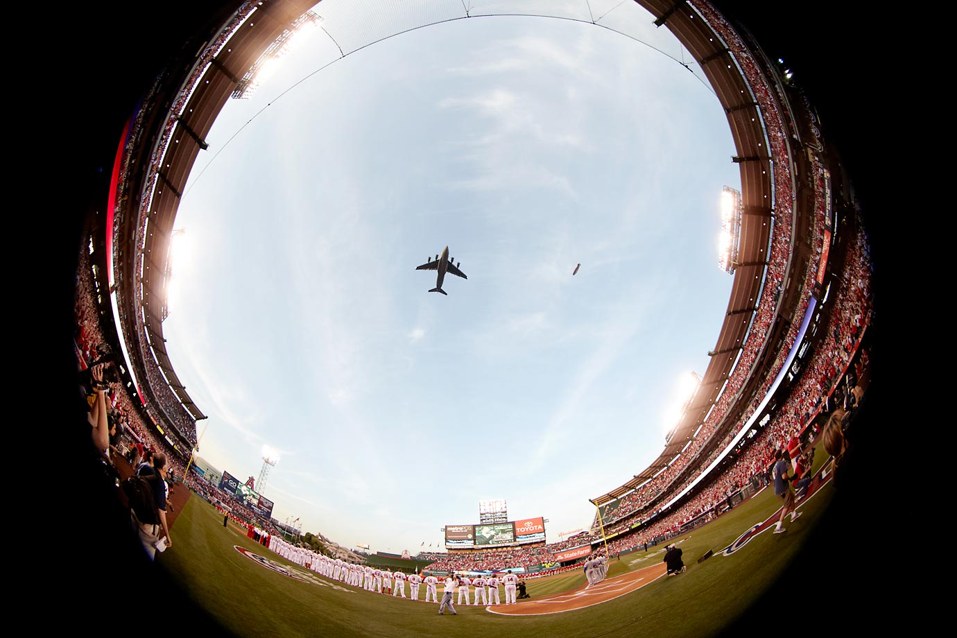 A U.S. Air Force C-17 Globemaster III airplane flyover before a 2012 Los Angeles Angels of Anaheim game against the Kansas City Royals.