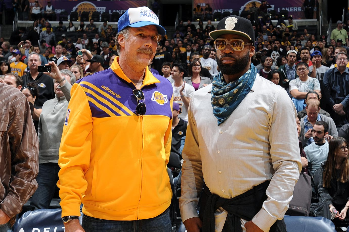 Will Ferrell poses with Baron Davis prior to the Los Angeles Lakers game against the Sacramento Kings on Nov. 11, 2012 at Staples Center in Los Angeles.