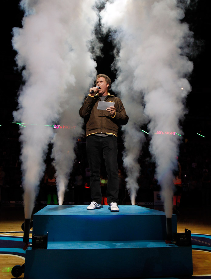 Will Ferrell does the player introductions for the New Orleans Hornets game against the Chicago Bulls on Feb. 8, 2012 at the New Orleans Arena in New Orleans.