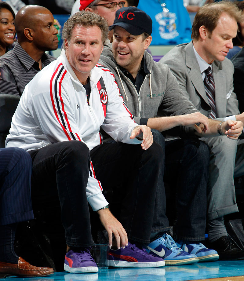Will Ferrell and Jason Sudeikis attend the New Orleans Hornets game against the Orlando Magic on Jan. 27, 2012 at the New Orleans Arena in New Orleans.