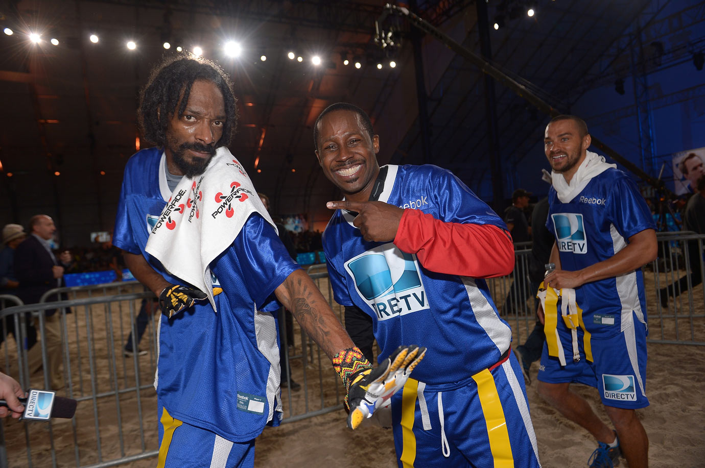 Snoop Dogg, Desmond Howard, and Jesse Williams attend DirecTV'S Seventh Annual Celebrity Beach Bowl on Feb. 2, 2013 at DTV SuperFan Stadium in New Orleans.