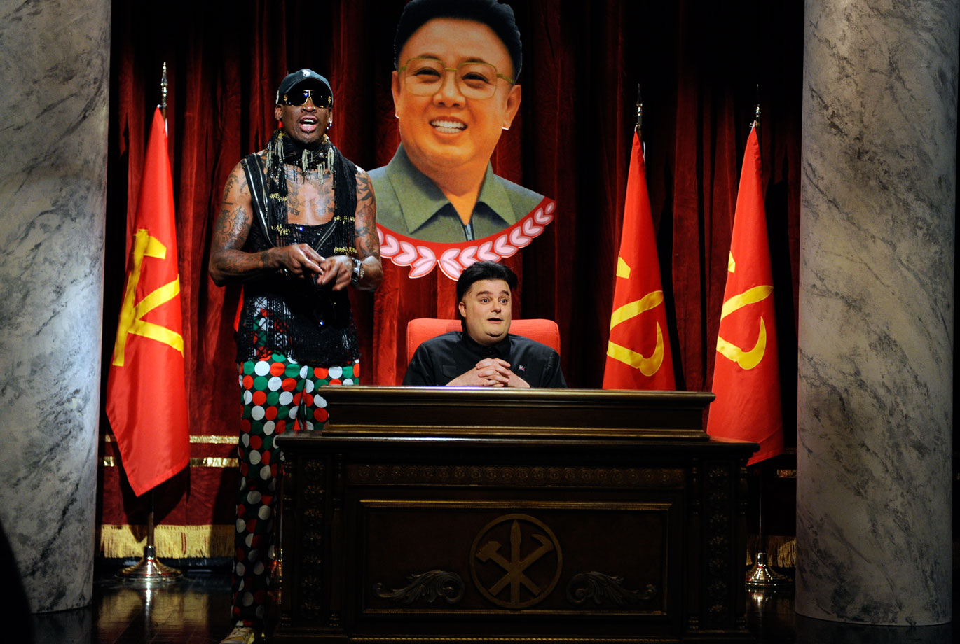 "Rodman dropped by ""Saturday Night Live"" for a skit with Bobby Moynihan as Kim Jong Un."