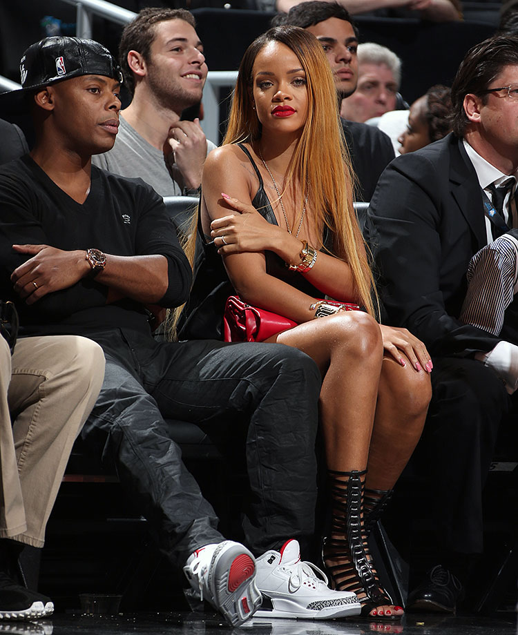 Rihanna attends Game 7 of the Eastern Conference Quarterfinals between the Brooklyn Nets and the Chicago Bulls on May 4, 2013 at the Barclays Center in the Brooklyn borough of New York City.
