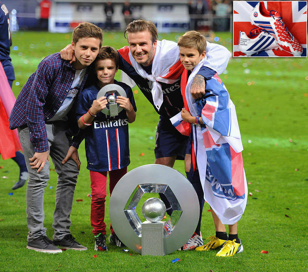 In his final match before retiring, Beckham was made captain and wore a special pair of boots (inset) he designed himself with the names of each of his four kids and the shirt numbers he wore throughout his career. Beckham assisted on a goal as PSG won 3-1 against Brest on May 17, 2013.