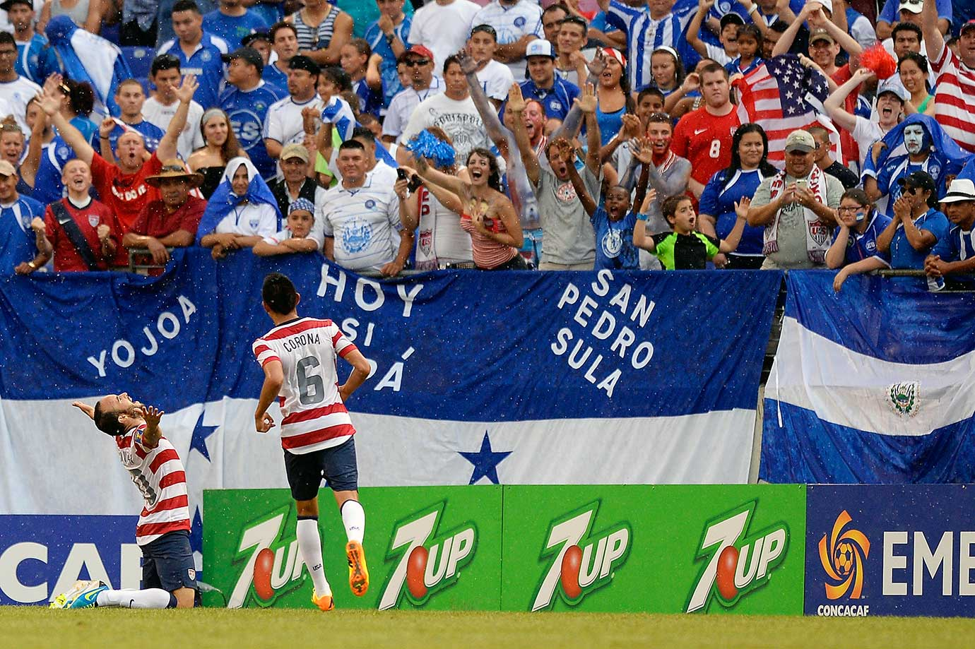 Landon Donovan celebrates after scoring a goal against El Salvador during 5-1 victory over El Salvador in the 2013 CONCACAF Gold Cup quarterfinal in Baltimore.