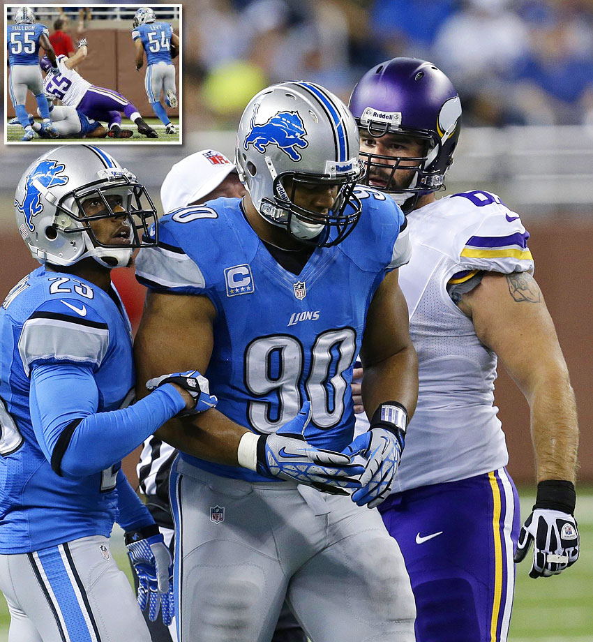 During the 2013 season opener, with 14:09 left in the second quarter, Vikings quarterback Christian Ponder threw a pick to Detroit outside linebacker DeAndre Levy, who appeared to take it to the house for a touchdown. However, Ndamukong Suh negated the score when he put a clearly illegal block on Minnesota center John Sullivan. The NFL levied a $100,000 fine against Suh for the low block.