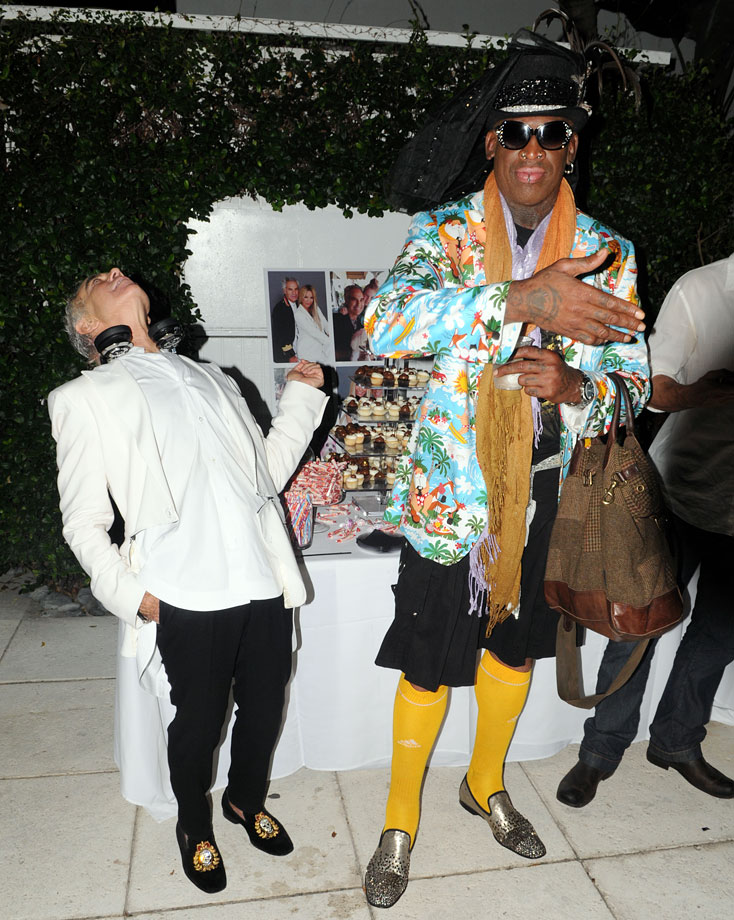 Rodman attends shoe designer Donald Pliner's 70th birthday party in style.
