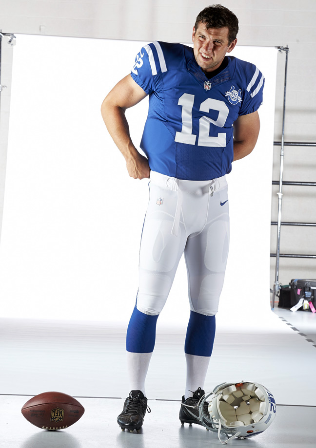 Andrew Luck looks on during an SI photo shoot on Aug. 16, 2013 at Anderson University in Indiana.