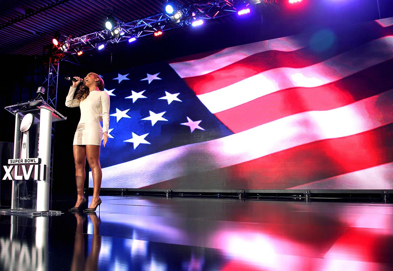 "Over a week after the world learned that Beyoncé had lip-synched ""The Star-Spangled Banner"" at President Obama's second inauguration, the diva admitted she did use a backing track for it. ""I am a perfectionist,"" she said, ""and I did not have time to rehearse with the orchestra. It was a live television show, and a very very important emotional show for me…And due to the weather, due to the delay, due to no proper sound check, I did not feel comfortable taking a risk. It was about the president and the inauguration, and I wanted to make my country proud."" The confession, however, came only after Beyoncé delivered a live, a cappella rendition of the national anthem at her Super Bowl XLVII press conference—proving that she can perform the song without any help from a pre-recorded track or even other musicians."