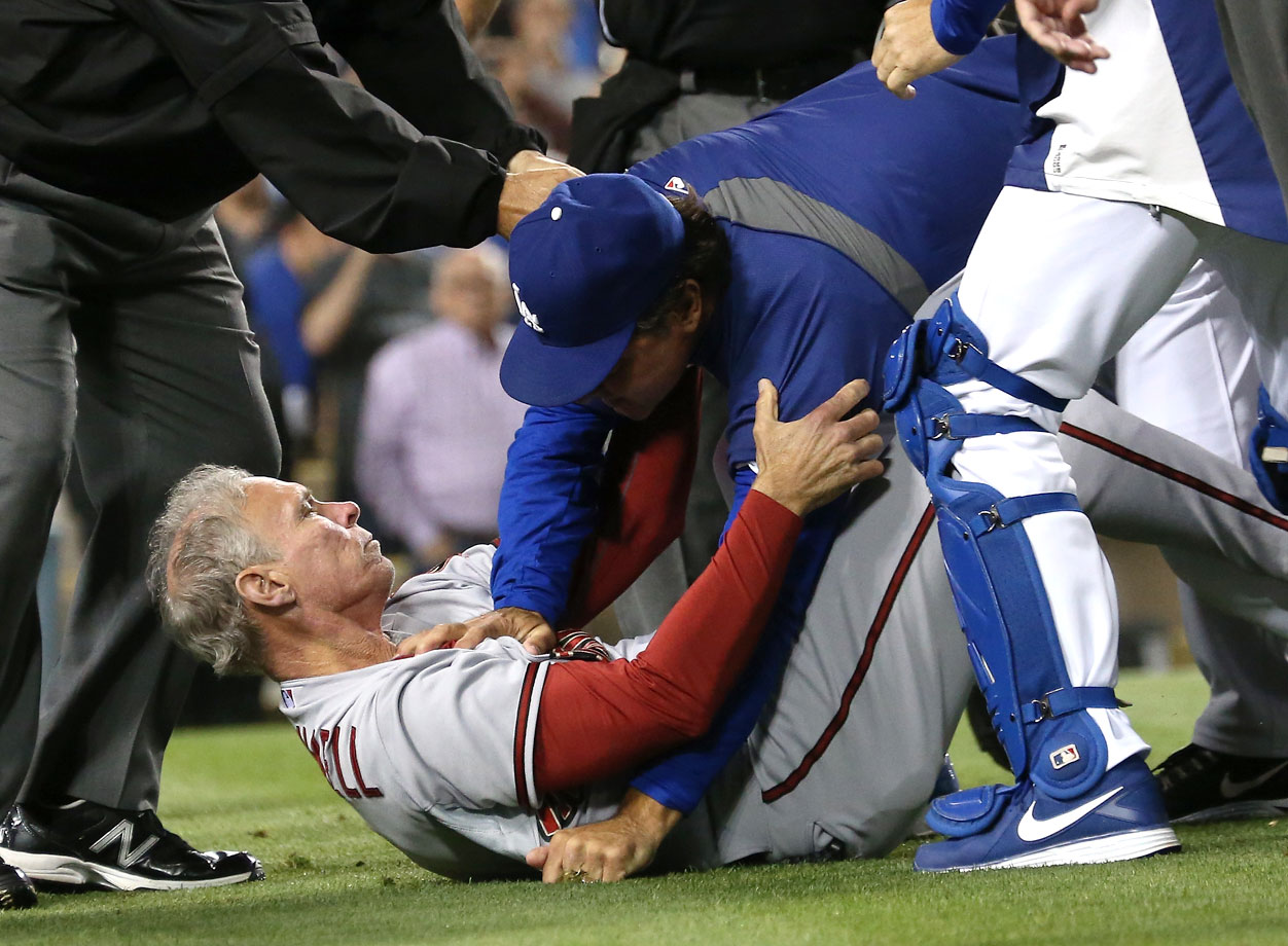 The Dodgers and Diamondbacks were involved in a heated brawl that involved players and coaches, including Don Mattingly taking down Alan Trammell. There were six ejections, stemming from a night in which Arizona's Ian Kennedy hit rookie Yasiel Puig in the face with a pitch and hit starter Zack Greinke with another high pitch.