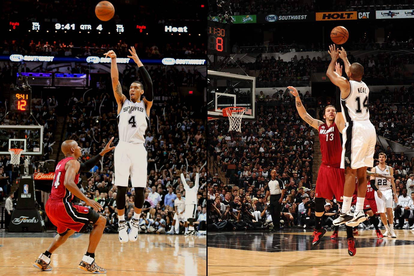 Danny Green and Gary Neal led the Spurs to a lopsided 113-77 victory over the Heat. The Spurs' 16 three-pointers set an NBA Finals record. Green made seven threes while Neal sank six from behind the line as the two scored 27 and 24 points, respectively. Two games later Green would set the Finals record for made three-pointers, when he hit his 23rd.