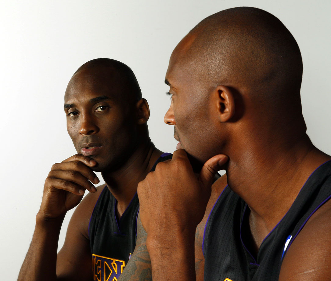 "Kobe must be thinking of Timberlake's lyrics: ""It's like you're my mirror. My mirror staring back at me,"" during this photo shoot in 2013."