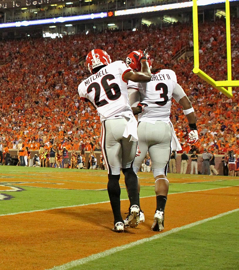 Georgia's top receiver tore his ACL after jumping to celebrate teammate Todd Gurley's 75-yard touchdown run on Aug. 31, 2013.