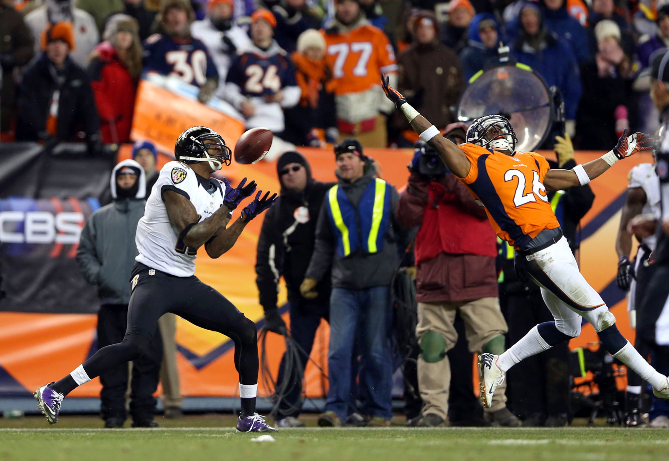 "The Ravens trailed by seven points and faced a third-and-3 at their 30-yard line with just 44 seconds remaining when Joe Flacco threw deep downfield. A Denver defender mistimed his jump to knock the ball away, and Jacoby Jones pulled it in and ran into the end zone to tie the game on ""The Mile High Miracle."" Baltimore then won in OT."