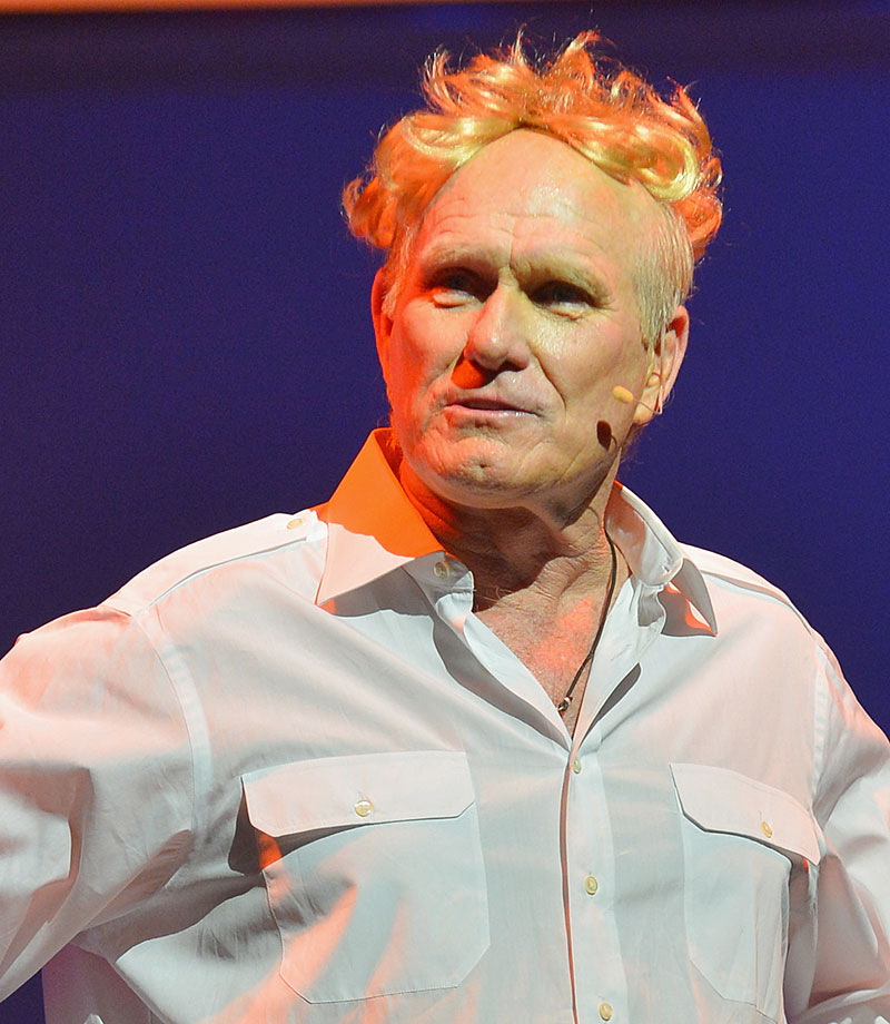 "Bradshaw performs during the ""Terry Bradshaw: America's Favorite Dumb Blonde... A Life in Four Quarters"" show premier at The Mirage Hotel & Casino on June 28, 2013 in Las Vegas."
