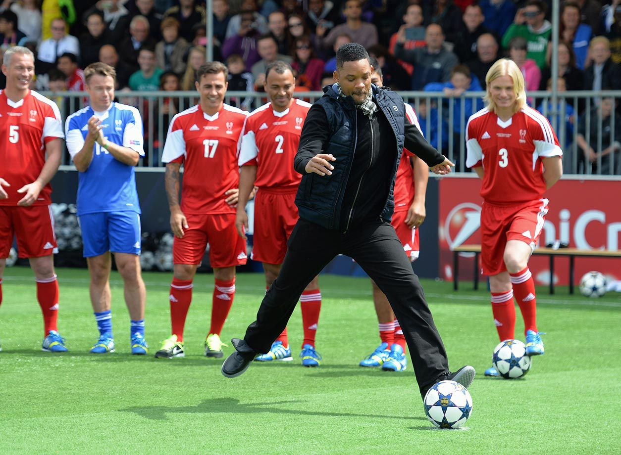 Will Smith takes a penalty during UEFA's Champions Festival which comes to London to coincide with Wembley hosting the Champions League final at Queen Elizabeth Olympic Park in London.