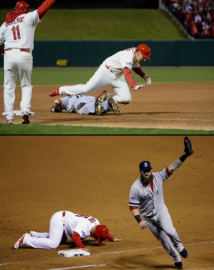 In more than a century of World Series games, not one had ever ended on an obstruction call or a pickoff. But in 2013, those unusual plays provided the final moments of games on consecutive nights. First, in Game 3, third base umpire Jim Joyce noticed that Craig had accidentally been tripped by Boston third baseman Will Middlebrooks when he tried to scramble to his feet and head home. Joyce called obstruction and St. Louis walked off with a 5-4 win and a 2-1 Series lead. The next night, with two out in the ninth inning of a 4-2 game, Red Sox closer Koji Uehara picked off Kolten Wong, ending the game and tying the Series. Boston went onto win the next two games for its third championship in 10 seasons.