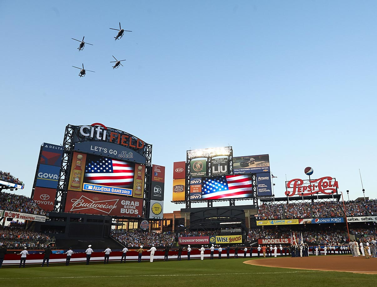 Helicopters perform a flyover before the MLB All-Star game at Citi Field in 2013.