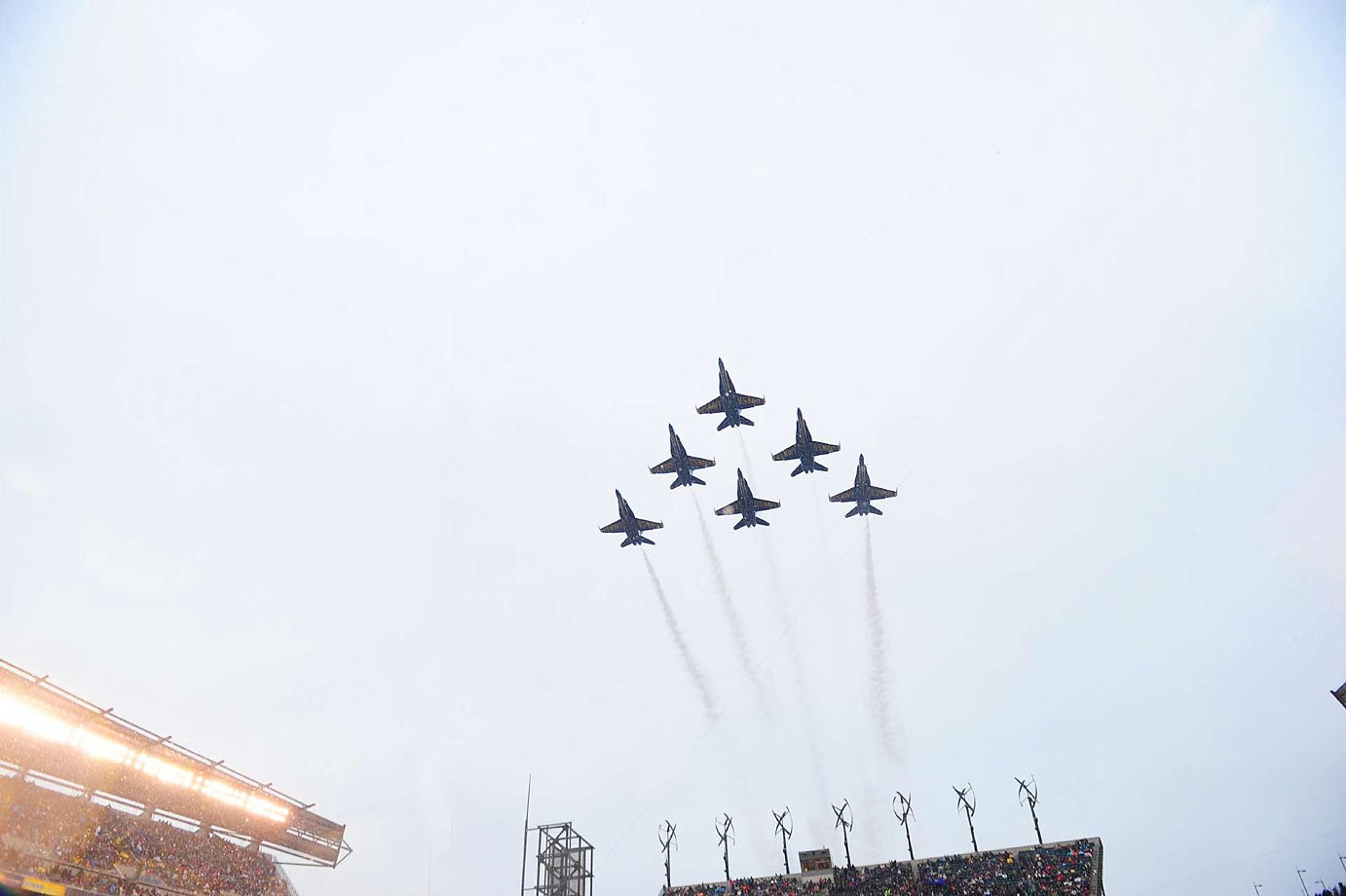 U.S. Naval Jets perform a flyover during pregame festivities before the Army-Navy game at Lincoln Financial Field in Philadelphia in December 2013.