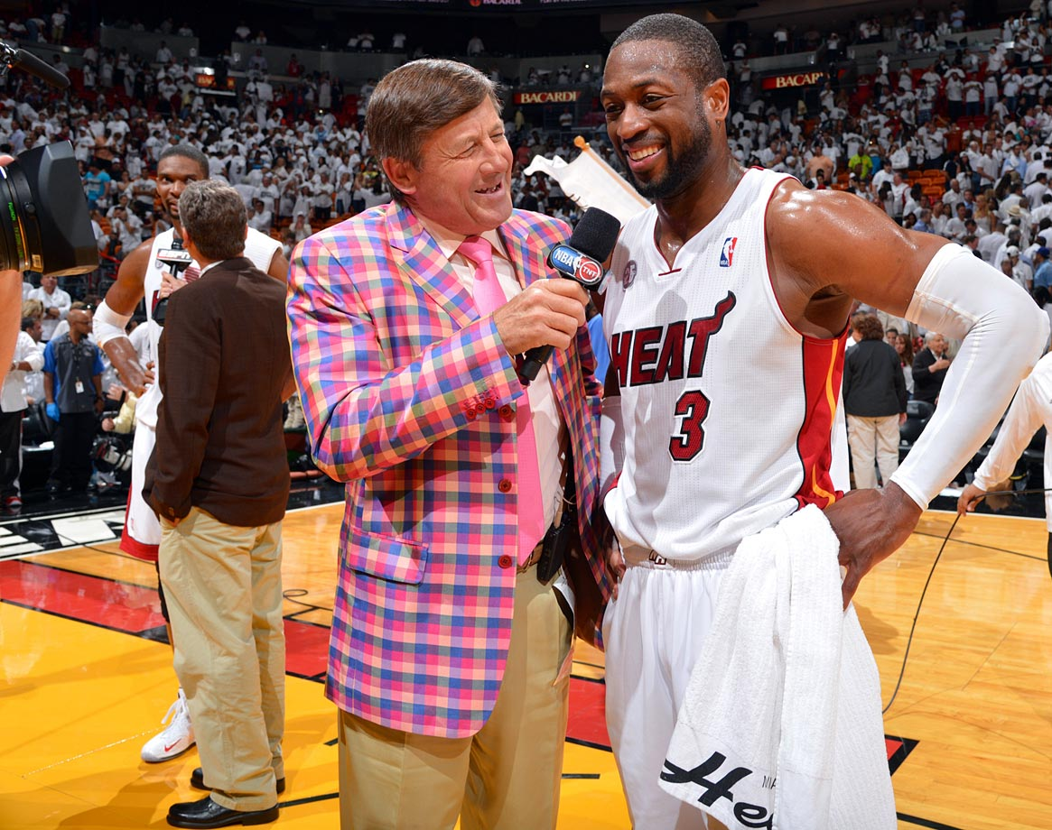 Craig Sager interviews Dwyane Wade following the Miami Heat's win over the Chicago Bulls in Game Five of the Eastern Conference Semifinals on May 15, 2013 at AmericanAirlines Arena in Miami.