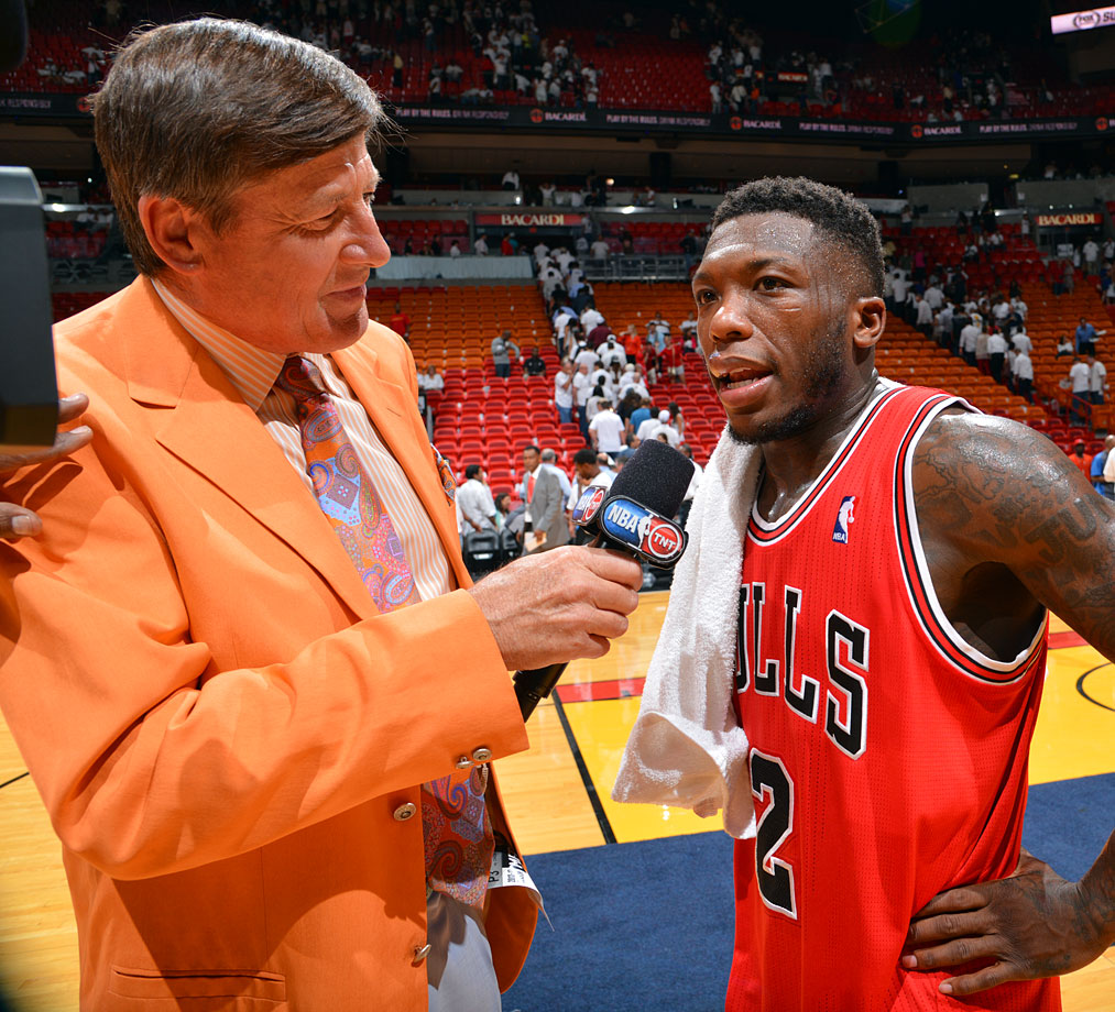 Craig Sager interviews Nate Robinson following the Chicago Bulls win over the Miami Heat in Game One of the Eastern Conference Semifinals on May 6, 2013 at AmericanAirlines Arena in Miami.