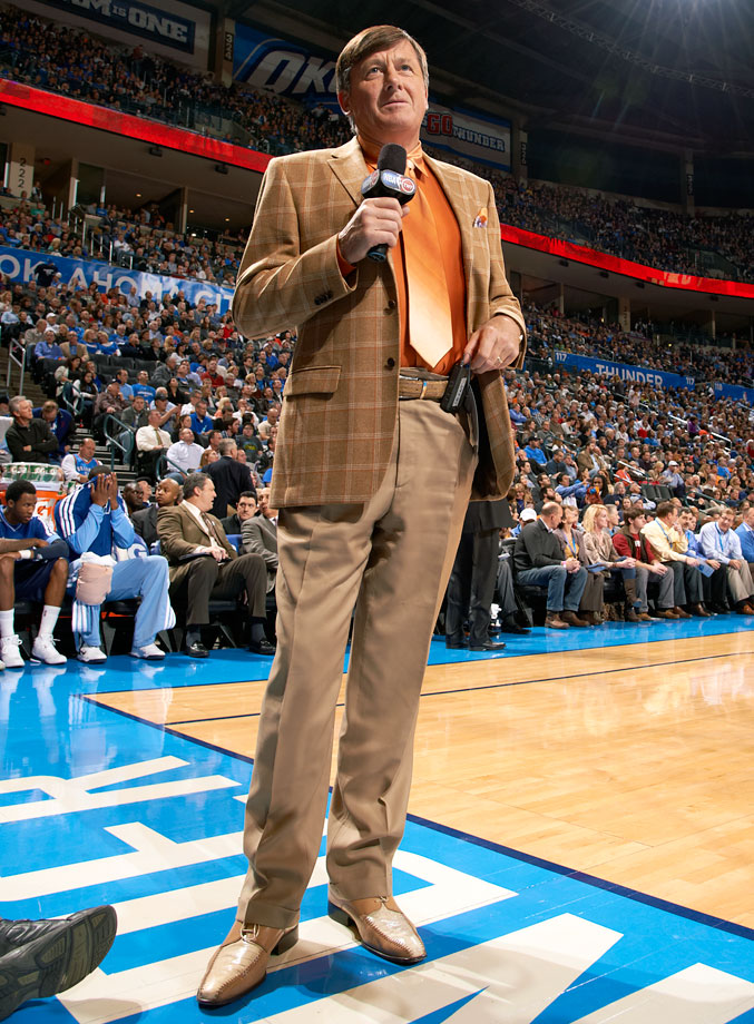 Craig Sager looks on during the Oklahoma City Thunder game against the Memphis Grizzlies on Jan. 31, 2013 at Chesapeake Energy Arena in Oklahoma City.