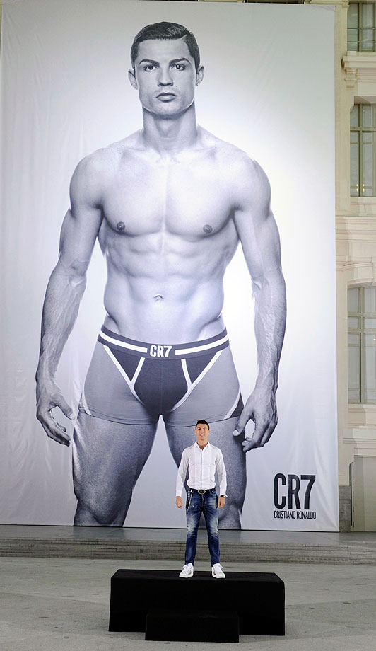 Cristiano Ronaldo launches his CR7 underwear line in Madrid.