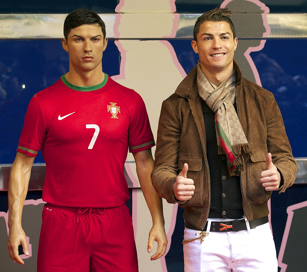 Cristiano Ronaldo attends the unveiling of his wax figure at the Museo de Cera (Wax Museum) in Madrid.