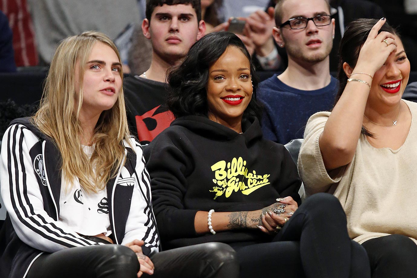 Model Cara Delevingne and Rihanna attend the Brooklyn Nets game against the Atlanta Hawks on Jan. 6, 2014 at the Barclays Center in the Brooklyn borough of New York City.