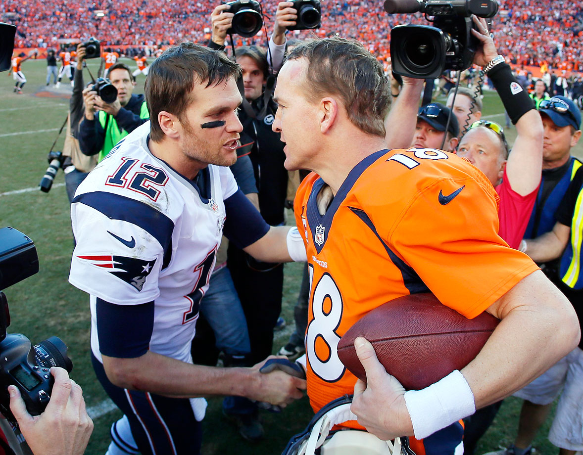 Peyton Manning outplayed Tom Brady to lead the Broncos to the Super Bowl for the first time since John Elway took the snaps in Denver some 15 years earlier. Though Manning threw for 400 yards, it was more dink-and-dunk than a fireworks show. Brady, who threw for most of his 277 yards in comeback mode, actually led the Patriots to a pair of fourth-quarter touchdowns, but it was too little too late.  (Brady 10, Manning 5)