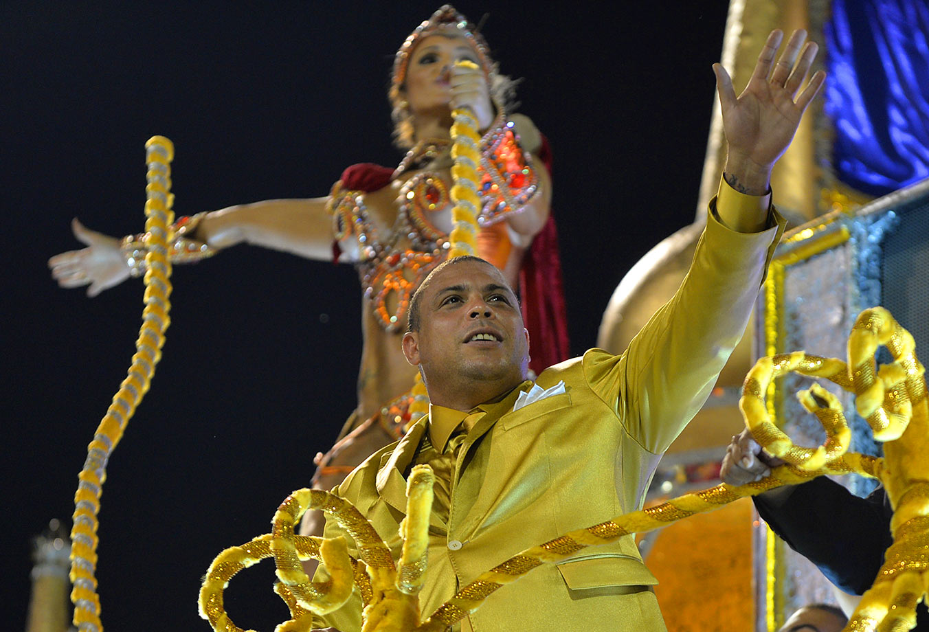 Ronaldo waves from a float as he takes part in Gavioes da Fiel samba school performance during the second night of carnival parade at the Sambadrome in Sao Paulo, Brazil, in March 2014. Gavioes da Fiel's theme for the carnival was an homage to Ronaldo.