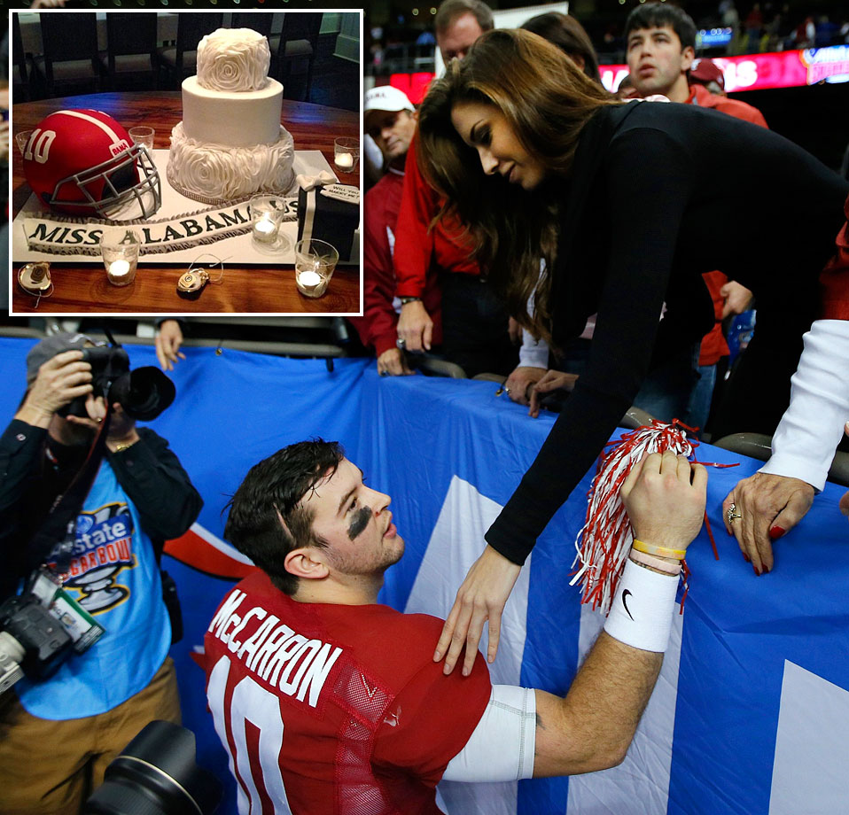 AJ McCarron and Katherine Webb's engagement cake featured a replica of his Crimson Tide helmet.