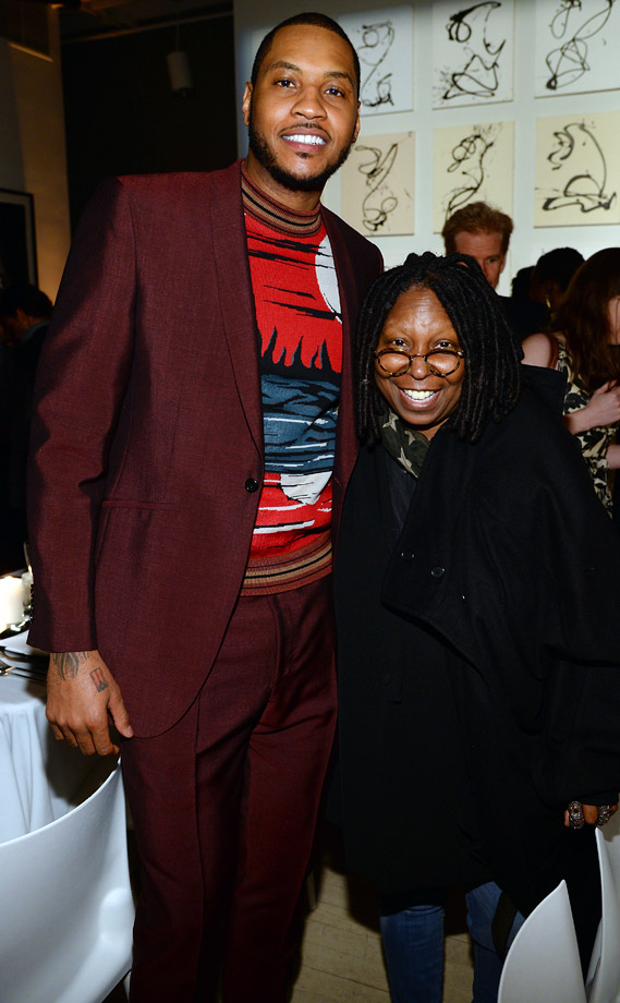 "Carmelo Anthony poses with Whoopi Goldberg at the ""For the Love of Cinema"" dinner hosted by IWC Schaffhausen and Tribeca Film Festival at Urban Zen in New York City."
