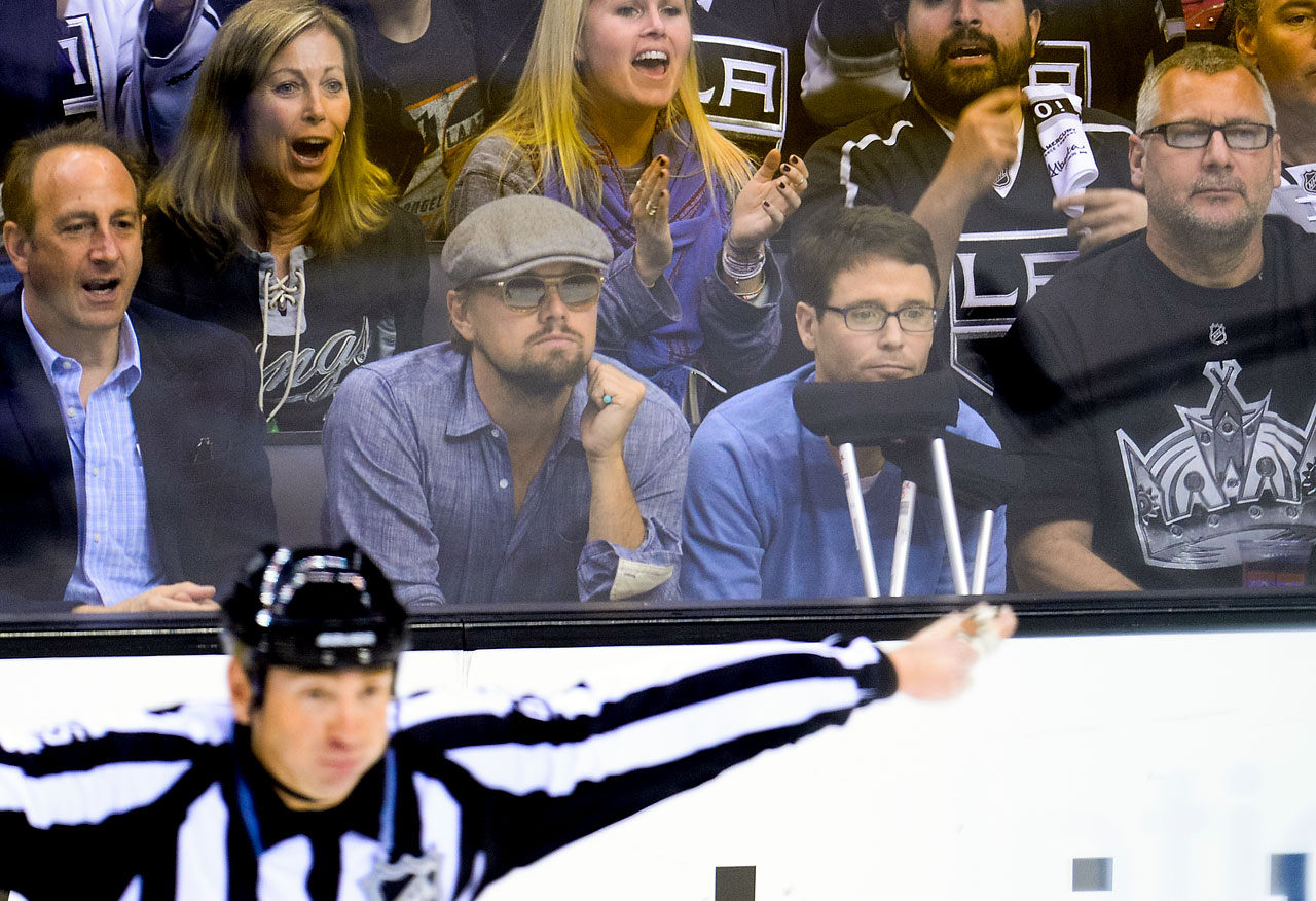Leonardo DiCaprio and Kevin Connolly attend Game 6 of the Western Conference Quarterfinals between the Los Angeles Kings and San Jose Sharks at Staples Center in Los Angeles.